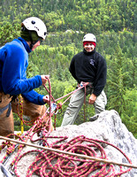 Photo of two people rappelling in Alaska.