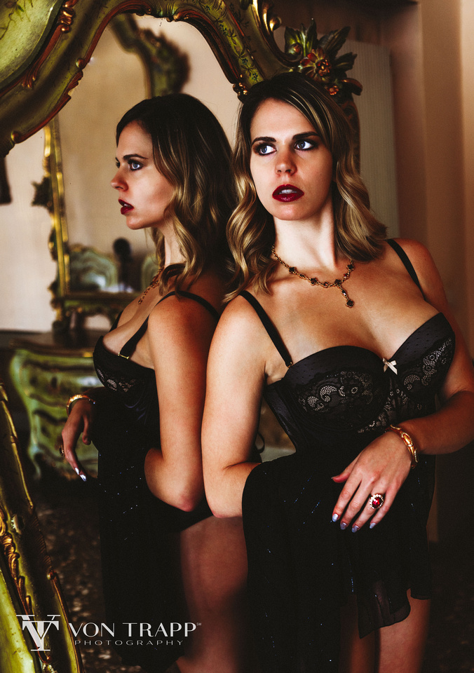 Lingerie fashion editorial photo shoot in venice Italy by Texas Glamour, Boudoir and Fashion Photographer Richard von Trapp of Von Trapp Photography.