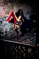 Glamour-Boudoir image of a woman in lingerie created outdoors at nighttime Venice Italy with a fashion-inspired look.