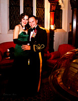 Photo of couple at the New York Explorers Club dressed in long gown and Army Blue Mess Dress.