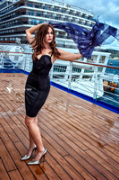 Fashion photograph of woman wearing Agent Provocateur on deck aboard a cruise ship.