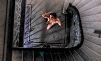 Photo of a woman wearing lingerie in a Budapest stairway..