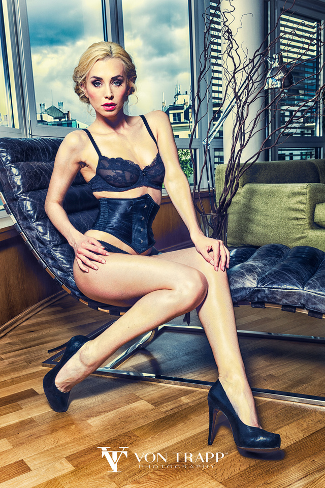 Fashion photo of Playboy model Coxy in lingerie, taken by San Antonio Fashion, Glamour Photographer, in their Prague Fashion Shoot.