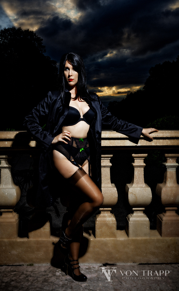 Dramatic and sexy fashion image of a woman wearing lingerie at the Lustheim Palace in Munich Germany. Houston-San Antonio Fashion Photographer shoots fashion and glamour.
