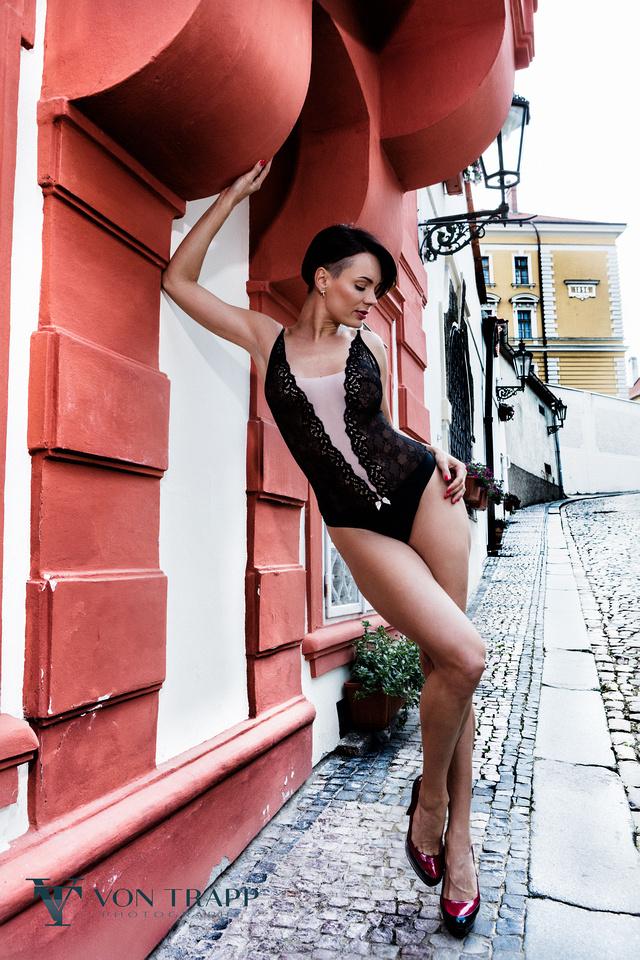 Austin-Houston Fashion Photography.  Lingerie photo shoot on the streets of Prague, Texas Glamour Photography.